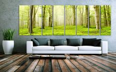 "XXLARGE 30""x 96"" 8 Panels Art Canvas Print beautiful Nature Forest Scenery Trees Wall Home Office Decor interior (Included framed 1.5""depth)"