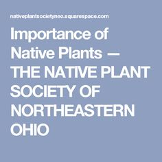 Importance of Native Plants — THE NATIVE PLANT SOCIETY OF NORTHEASTERN OHIO