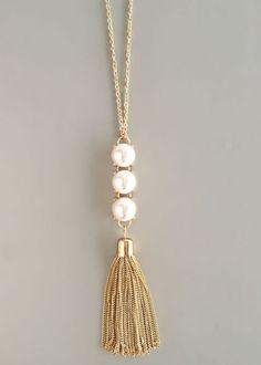 nice Triple Pearls Tassel Necklace by… Tassel Jewelry, Pearl Jewelry, Wire Jewelry, Jewelry Crafts, Beaded Jewelry, Handmade Jewelry, Jewelry Necklaces, Pearl Earrings, Bullet Jewelry