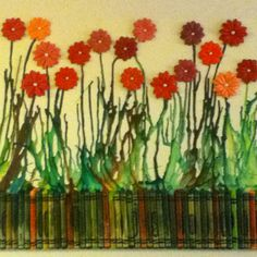 My first crayon art! Flowers on canvas