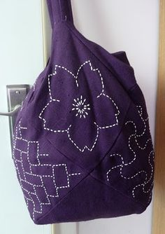 sashiko bag in purple