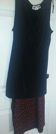 Black polka dot tank w Lularoe Cassie skirt