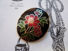 Vintage 1980s Cloisonne Enamel Red Rose Spray Flower Brooch 22ct Gold Plated by Fish Crown Black Red Green