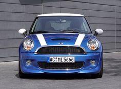 Blue mini cooper with white stripes
