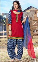 137a914580e  Red and blue colour  cotton ready made salwar suits (Size - Medium