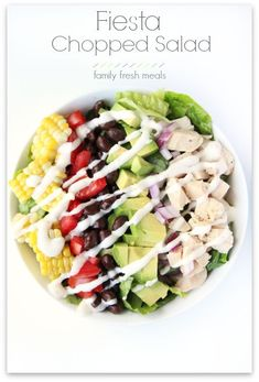 Fiesta Chopped Salad Kale Recipes, Avocado Recipes, Crockpot Recipes, Cooking Recipes, Cooking Tips, Southwest Salad, Riced Veggies, Family Fresh Meals, Health Desserts