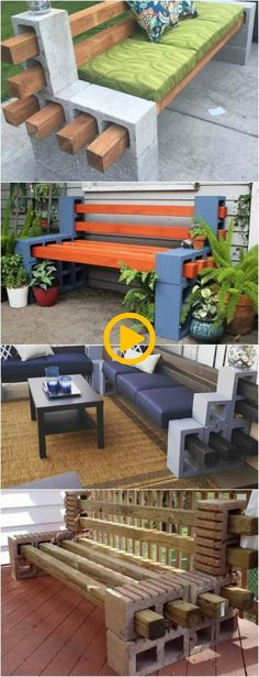 How to Make a Bench from Cinder Blocks: 10 Amazing Ideas to Inspire You! via - Garden Decor Crafts Fire Pit Furniture, Diy Furniture, Outdoor Furniture Sets, Outdoor Garden Decor, Diy Garden Decor, Outdoor Ideas, Garden Ideas, Cinder Block Bench, Cinder Blocks