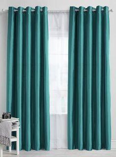 Teal plain faux silk blackout/thermal eyelet curtain
