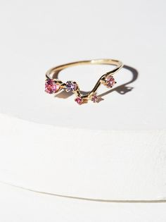 14K Constellation Stone Ring | Gorgeous constellation-inspired ring made in Morphe's Montreal studio, featuring a Big Dipper and Northern Star design made of five stunning sapphires and rose tourmaline.