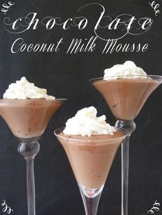 Chocolate Coconut Milk Mousse, gluten free and dairy free! Desserts Keto, Paleo Dessert, Just Desserts, Delicious Desserts, Dessert Recipes, Yummy Food, Mousse Dessert, Coconut Milk Mousse, Coconut Milk Recipes