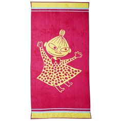 Pink and yellow, bubbly towel featuring Little My. Take a leap into the adventure, and enjoy your lovely bath moments. Moomin-towels are inspired by Tove Jansson's original drawings and are authentic ©Moomin Characters™ licensed products. Moomin Shop, Moomin Valley, Tove Jansson, Terry Towel, Child Face, Kids Bath, Little My, Helsinki, My Children