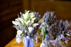 White Calla Lilies and Lavender were included in this bridal bouquet. Bridesmaids just have lavender and sweetpeas