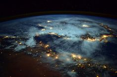 """""""Spiral of lights BURSTING from Earth!  #Spain looks like it is floating away from #Africa"""" #AstroButch"""