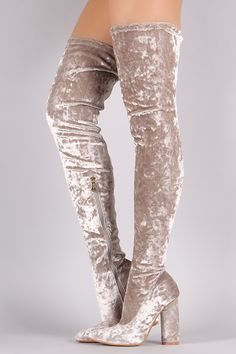 Pointy Toe Mermaid Sequin Thigh High Boots | MakeMeChic.com | Make ...