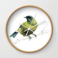 Korimako, the Bellbird Wall Clock
