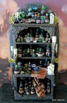 Halloween decor - A miniature witch's potion cupboard. Bead Bottle, Glass Bottles, Witch Potion, Halloween Apothecary, Halloween Potions, Vitrine Miniature, Potion Bottle, Marianne Design, Deco Table