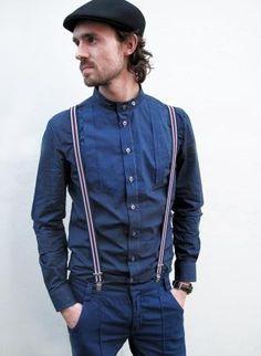 Bib front collarless men's shirt,  Top, Bib front  collarless men's shirt  slim, Casual