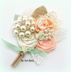 Brooch Groom Boutonniere in Peach Ivory and Mint Green by SolBijou, $35.00