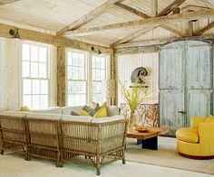 Classic Country Room Tip: Revive early American homes by seeking furniture with woodworking details and distressed finishes.