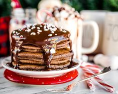 Delicious and easy Gingerbread Pancakes are a great way to start a chilly winter morning. These fluffy pancakes make a great Christmas morning breakfast. Chocolate Pancakes, Mini Chocolate Chips, Gingerbread Pancakes, Christmas Morning Breakfast, Caramel Apples, Holiday Recipes, Candy, Desserts, Peppermint Chocolate
