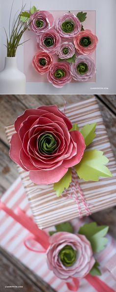 Handcrafted lifestyle expert Lia Griffith shows you how to make paper ranunculus flowers for your spring and summer home decor, or as a pretty gift topper! Paper Flowers Diy, Paper Roses, Handmade Flowers, Flower Crafts, Fabric Flowers, Wrapping Ideas, Creative Gift Wrapping, Paper Wrapping, Origami