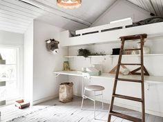 my scandinavian home: A charming Swedish cottage by a lake Swedish Cottage, Swedish House, Loft Spaces, Small Spaces, Mezzanine Bedroom, Peaceful Bedroom, Interior Decorating, Interior Design, Scandinavian Home