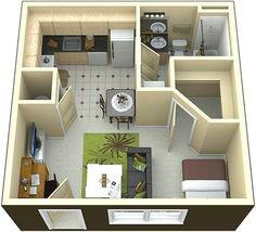 Desain Denah Rumah Minimalist 1 Kamar Tidur Terbaru PUT A BARNDOOR FOR BATHROOM DOOR. So it slides between sink and wall