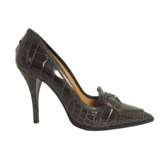 Brand New Hermes Alligator Shoes with Buckle in Dark Grey | From a collection of rare vintage shoes at http://www.1stdibs.com/fashion/accessories/shoes/