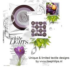 "mood board with pillow ""purple circles"" by www.ilsephilips.nl"