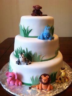 Jungle Babies Shower cake, fondant, hand molded