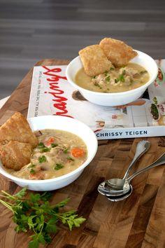 Chrissy Teigen's chicken pot pie soup with crust crackers