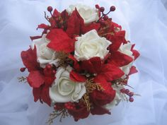 Holiday Wedding Bouquet/ Red and White/ Christmas by DESIGNSBYDME, $85.00
