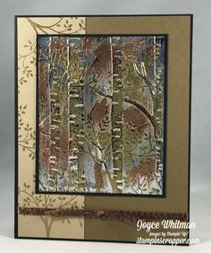 The tarnished foil technique is awesome for masculine cards. I used the Thoughts and Prayers stamp set and Woodland Embossing Folder from Stampin' Up! for this card.