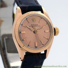 1960's Vintage Rolex Ladies Oyster Perpetual Ref. 6619 18k Rose Gold watch with Original Salmon Dial with Applied Rose color Stick/Bar/Baton Markers. Triple Signed. Case Excellent Condition Case Origi