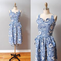 1940s Dress - Blue Floral Sweetheart Ruffled 40s Sun Dress