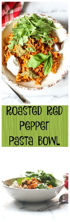 Roasted Red Pepper Pasta Bowl.  This recipe is vegan, paleo, whole30, and so creamy and delicious.... and it's really easy too!