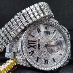 Exclusive Diamond Cartier Watch + Four Row Diamond Bracelet Dream Watches, Luxury Watches, Rolex Watches, Watches For Men, Ring Watch, Bracelet Watch, Bracelet Men, Gold Diamond Watches, Diamond Jewelry