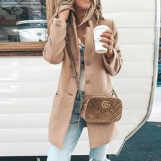 Fold Over Collar Single Breasted Plain Coats – ebuytide - Best Cute Outfit ideas Winter Fashion Casual, Fall Winter Outfits, Spring Outfits, Autumn Fashion, Winter Style, Winter Clothes, Winter Wear, Spring Ootd, Snow Clothes