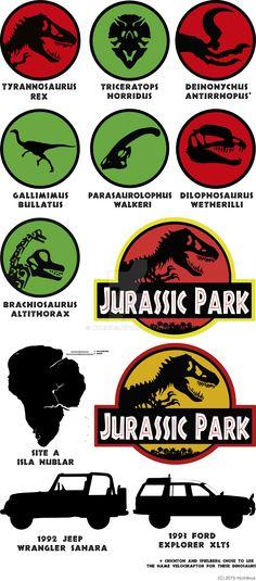 Jurassic Park dinosaurus ver 2 by mcmikius on DeviantArt Jurassic Park Tattoo, Jurassic Park Party, Jurassic World Park, Jurassic Park Poster, Jurassic Park Jeep, Jurassic Park Series, Lego Jurassic, Jurassic World Fallen Kingdom, Jurassic World Raptors