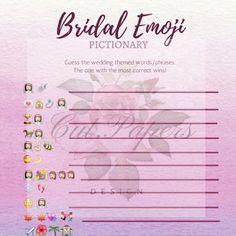 bridal shower game emoji pictionary interactive fun game print at home