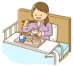 入院・ベッドで食事をする女性(ソフト)