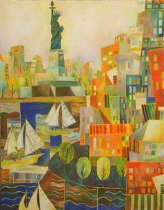 """""""Statue of Liberty"""": Artist Chaitali Chatterjee - excellent visual for collage landscape project"""