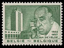 Belgische Briefmarke mit Henry van der Velde aus dem Jahr 1963