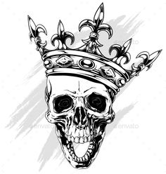 Buy Graphic Human Skull with King Crown by GB_Art on GraphicRiver. Graphic black and white human skull with royal lily king crown and diamonds on white background vector Harley Tattoos, Zombie Tattoos, Bull Tattoos, Skeleton Tattoos, Tattoo On Hip Bone, Skull With Crown, Tribal Turtle Tattoos, Ancient Art Tattoo, Skull Hand Tattoo