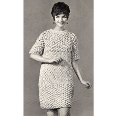 Knitting Pattern for Moss Stitch Dress   This chunky dress, with the high rounded neckline and elbow length sleeves has a center stripe created by stitch changes. It is above knee length.