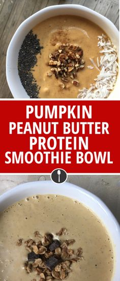 This pumpkin peanut butter smoothie smoothie is loaded with protein thanks to the peanut butter, Greek yogurt, and protein powder.