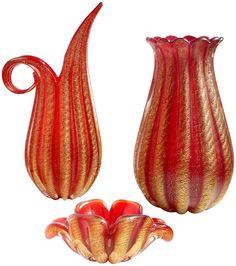 Ercole Barovier Murano Red Gold Flecks Italian Art Glass Fan Top Flower Vase