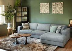 Living Room Wall Units, Living Room Plan, Living Room Green, Small Living Rooms, Living Room Decor, Grey Interior Design, Interior Design Living Room, Living Room Designs, Green Wall Color