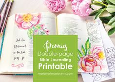 Bible Journaling Printable, Peonies Make studying the Bible a joy and make your Bible beautiful and unique! This is a detailed floral drawing