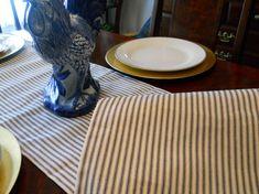 Ticking Stripe Table Runner, French Stripe Bed Runner, 14''x72'' Blue Stripe…